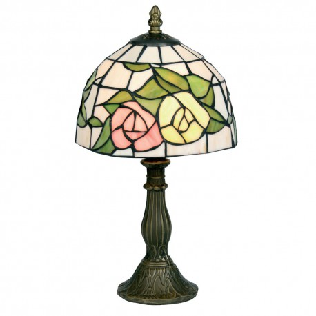 """Pink & Yellow Flower 8"""" Tiffany Table Lamp"""