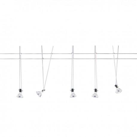 Track Spotlight Cable Kit - 5 Light Chrome 20W Cable Light Set