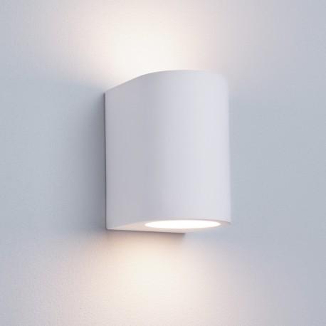 Gypsum G9 White Curved Cylinder Plaster Wall Light