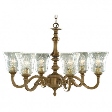 Malaga 6 Light Antique Brass Fitting Candle No Glass