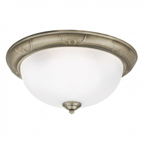 Flush 3 Bulb Antique Brass with Detailed Trim 38cm