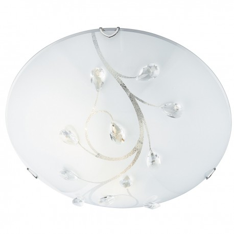 Flush 40cm Round Glass With Crystals