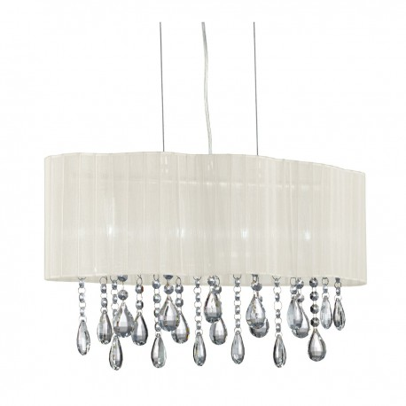 Pleated 4 Light Ceiling, Clear Crystal Drops, Cream Voile Shade