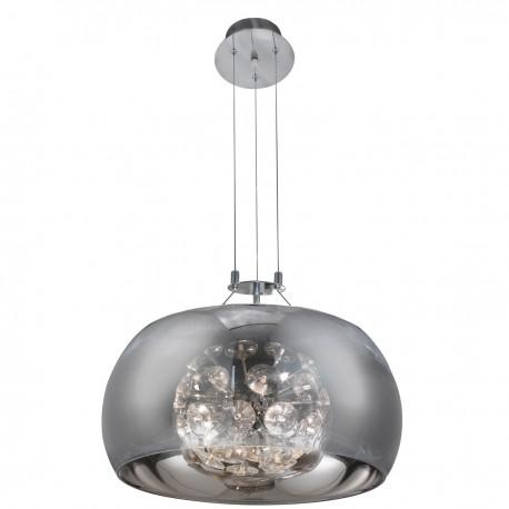 Curva 6 Bulb Chrome Visor Pendant - Crystal Sputnik