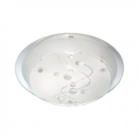 LED Flush 25Cm Round 1 Light- Clear Beads On Glass