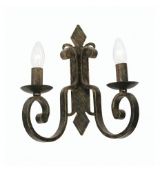 Carlisle Black Brushed Gold 2 Light Wall Bracket