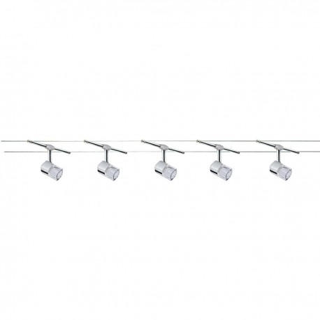 Track Spotlights - Cable Kit - 5 Light Halogen Chrome/Clear Cube Glass