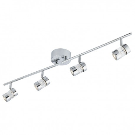 Bubbles Effect IP44 LED 4 Light Bar Spot Chrome & Acrylic Shade