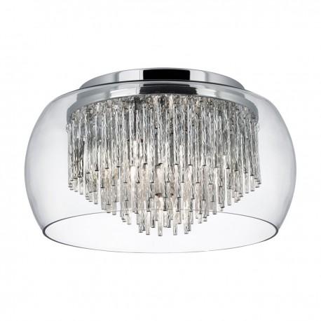 Curva Clear Glass Shade 4 Light Flush/Aluminium Spiral Tubes