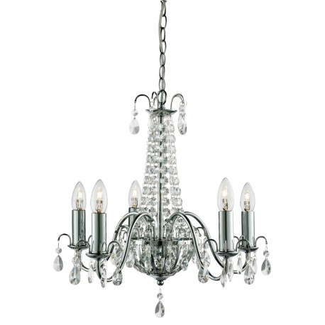 Hampton 5 Light Crystal Chandelier, Chrome, Clear Crystal Deco