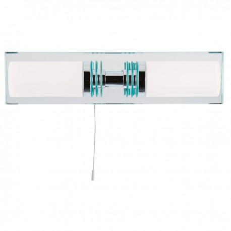 Bathroom 2 Light - Chrome/Glass Mirrored Backplate Wall Bracket IP44