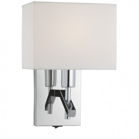 Chrome Wall Bracket With White Rectangle Shade