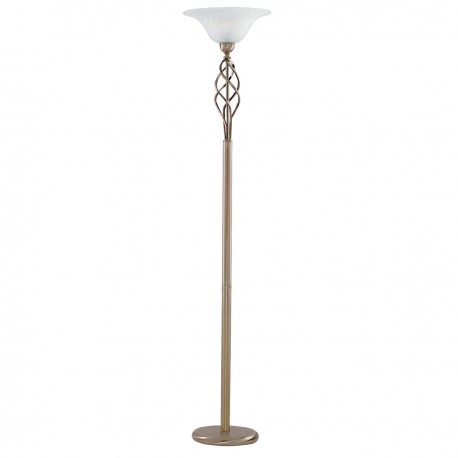 Uplighter Floor Lamp - Antique Brass Complete With Marble Glass