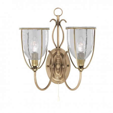 Silhouette 2 Light Antique Brass Wall Bracket Complete With Glass