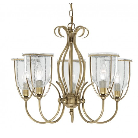 Silhouette 5 Light Antique Brass Fitting Complete With Glass