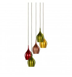 Vibrant 5 Light Multi-Drop Coloured (Red, Green, Gold, Copper) Shades