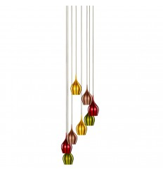 Vibrant 8 Light Multi-Drop Coloured (Red, Green, Gold, Copper) Shades