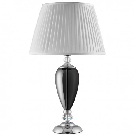 Table Lamp, Smokey Glass Base,Chrome With White Pleated Shade