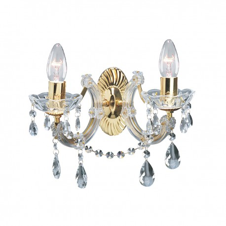 Marie Therese 2 Light Glass Crystal Wall Bracket