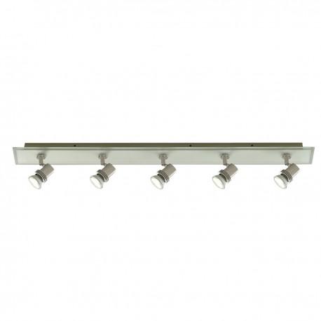 Top Hat 5 Light Bar Spot Satin Silver Glass Backplate Gu10