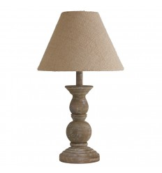Table Lamp Small Spindle Ball Base Wood,