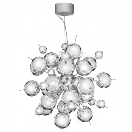 Molecule 12 Light Chrome Pendant With Chrome Balls
