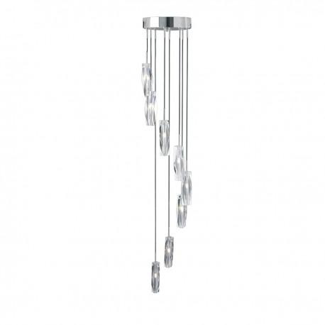 Sculptured Ice 8 Light Multidrop Pendant