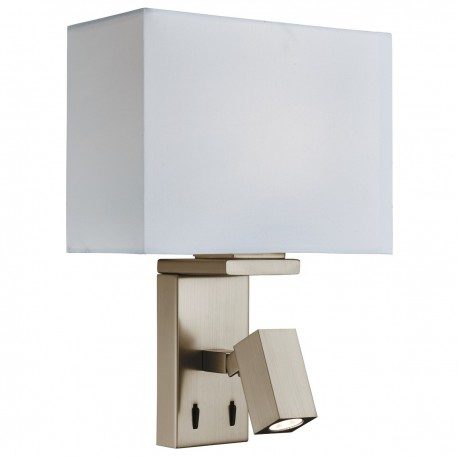 Wall Light with LED Reading Light with Rectangular Shade