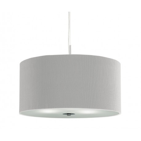 Drum Pleated Shade Pendant With Frosted Glass Diffuser 60cm