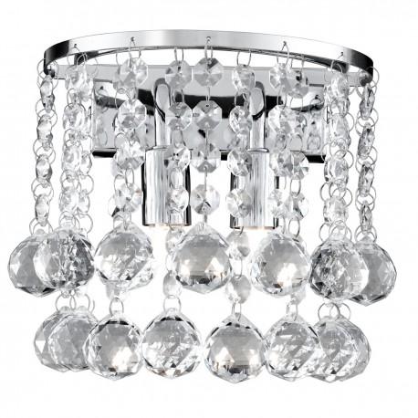 Hanna 2 Light Round Wall Bracket Clear Crystal Ball