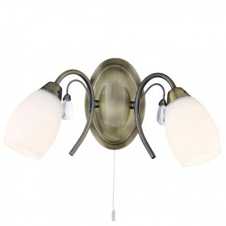 Electra - 2 Light Wall Bracket, Clear Glass Detail, Opal Glass Shade