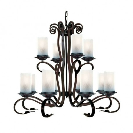 Scroll 12 Light Rustic Fitting Complete With White Crackle Glass