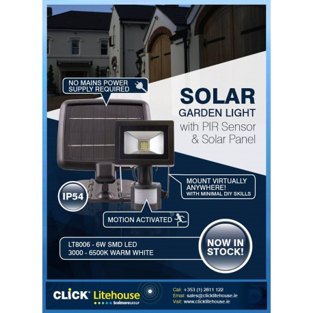 6W SMD LED Solar Garden Light with PIR Sensor