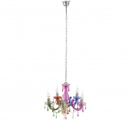 Miya Multi-coloured Acyrlic 5 Light Pendant