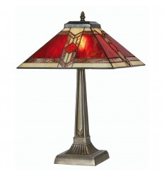Aztec Tiffany Table Lamp 14""
