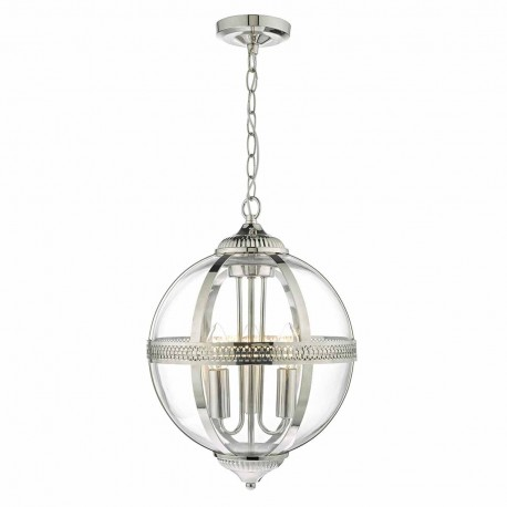 Vanessa 3 Light Polished Nickel and Glass Pendant
