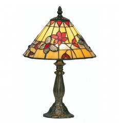 Butterfly Tiffany Table Lamp Red 9""