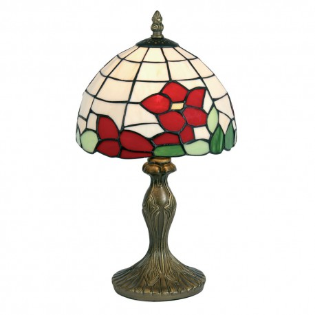 """Red Flower 8"""" Tiffany Table Lamp"""