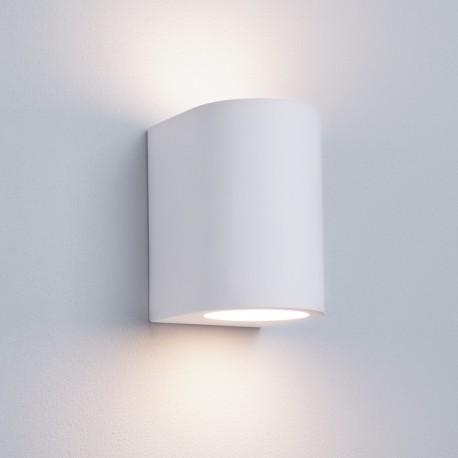Gypsum G9 White Curved Cylinder Plaster Wall Light