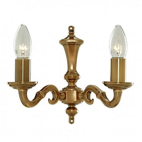Malaga 2 Light Antique Brass Wall Bracket Candle No Glass