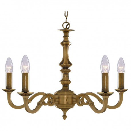 Malaga 5 Light Antique Brass Fitting Candle No Glass