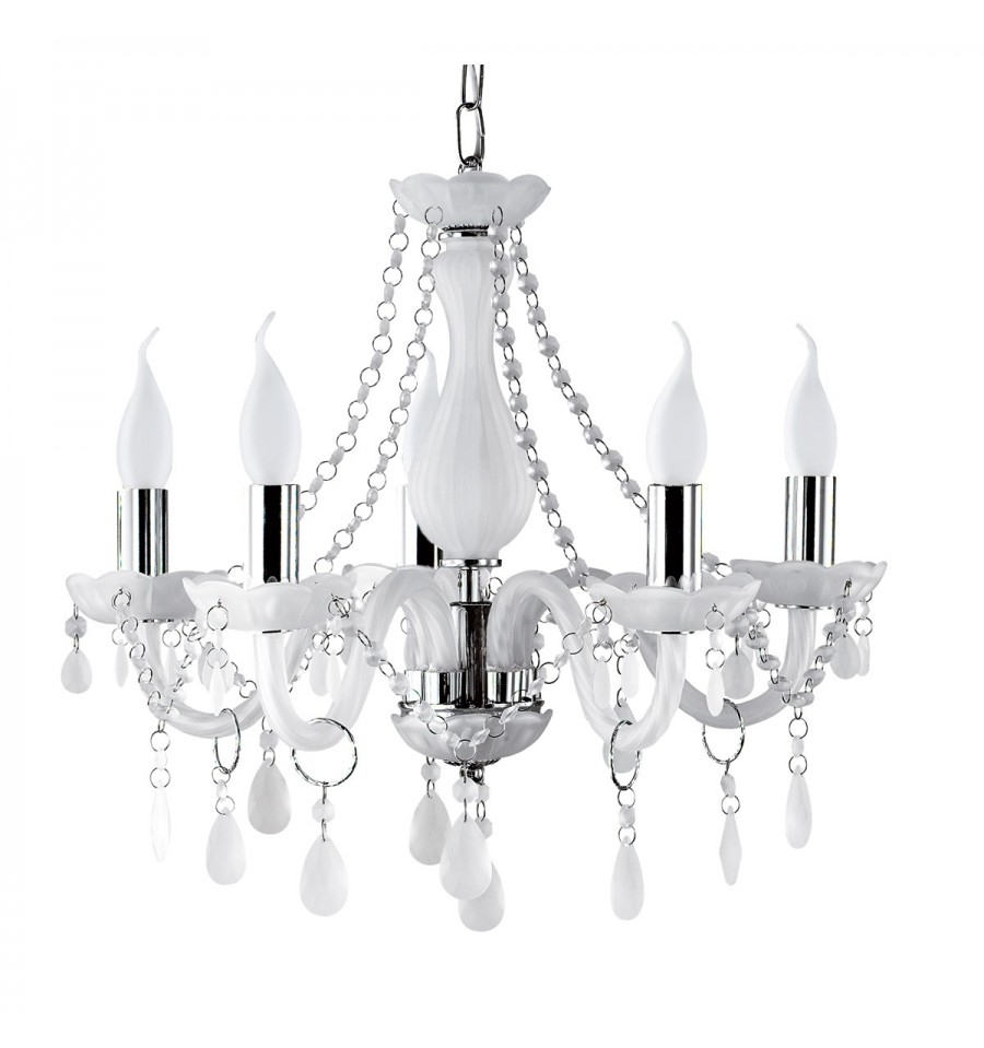 Marie Therese White Frosted Glass Chandelier Hegarty