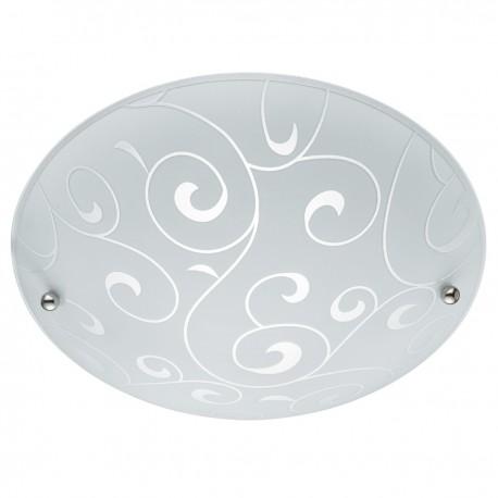 Flush 40Cm White Round Acid Swirl Glass E27