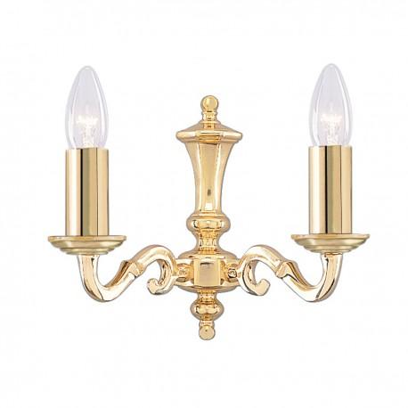 Seville 2 Light Polished Brass Wall Bracket Candle No Glass