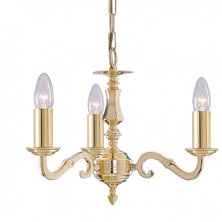 Seville 3 Light Polished Brass Fitting Assembled Candle No Glass