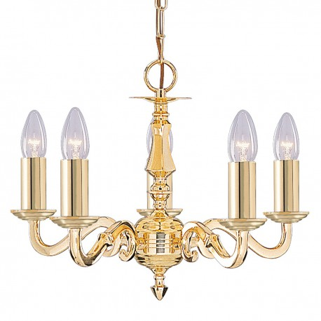 Seville 5 Light Polished Brass Fitting Assembled Candle No Glass