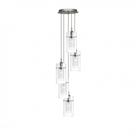 Duo I - Double Glass 5 Light Pendant