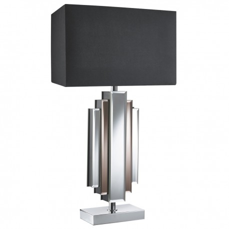 Mirror Table Lamp Column , Black Rectangle Shade
