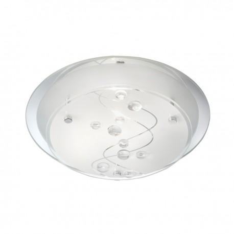 LED Flush 25Cm Round 1 Light- Clear Beads On Glass