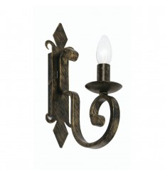 Carlisle Black Brushed Gold 1 Light Wall Bracket
